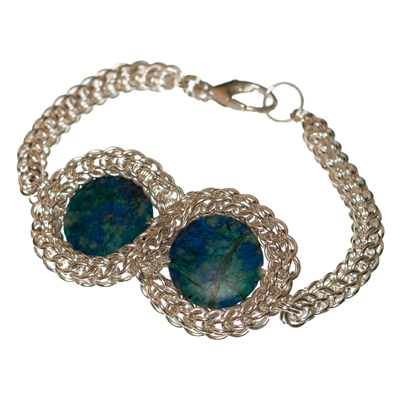 Blue Seas Knot: Sterling Silver Persian Chain Maille Bracelet with Azurite