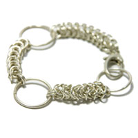 Sterling Silver Box Weave Bracelet with Large, Fine Silver Rings.