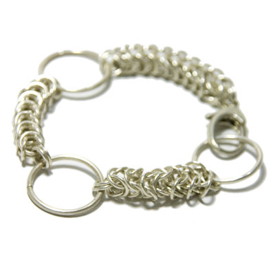 Sterling Silver Queen's Link bracelet with Fine Silver Rings