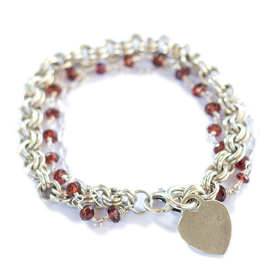Sterling Silver Chain and Garnet Bracelet