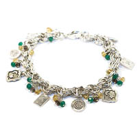 Sterling Silver Double Serpent Charm Bracelet with Gemstones
