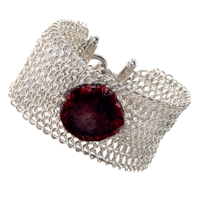 Sterling Silver European Cuff Bracelet with Raw Garnet - Elena Adams Designs