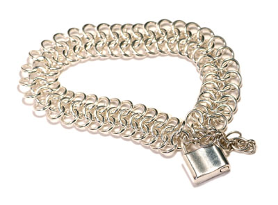 Sterling Silver European Bracelet with Padlock Clasp