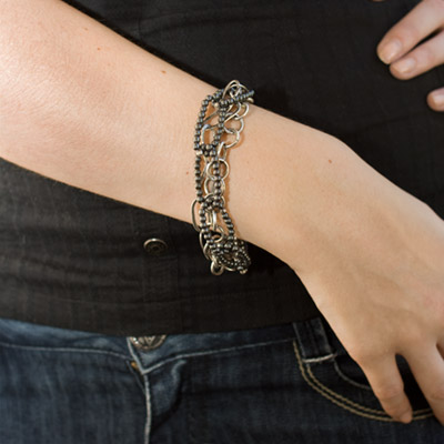 How to Wear Fine Silver and Hematite Link Bracelet