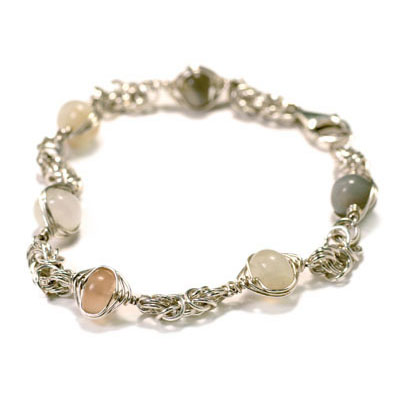 Sterling Silver Byzantine Chain Maille Moonstone Bracelet.