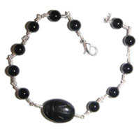 Sterling Silver, Black Onyx and Scarab Bracelet