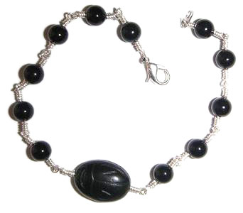 Sterling Silver and Black Onyx Bracelet with a Black Onyx Scarab