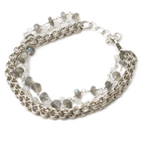 Sterling Silver Chain Maille, Labradorite and Moonstone Bracelet