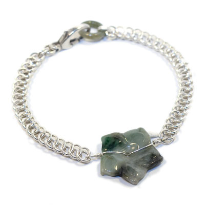 Sterling Silver Half Persian and Jade Flower Bracelet