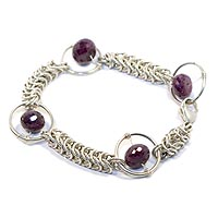 Sterling Silver Queen's Link Bracelet with Large Rings and Rubies.