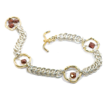 Sterling Silver and Vermeil Bracelet with Garnet