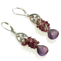 Alice: Sterling Silver, Amethyst and Pink Sapphire Earrings
