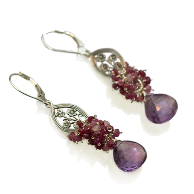 Elena Adams Designs - Alice: Sterling Silver, Amethyst and Pink Sapphire Earrings