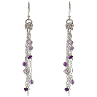 Sterling Silver Chainmail Amethyst Earrings