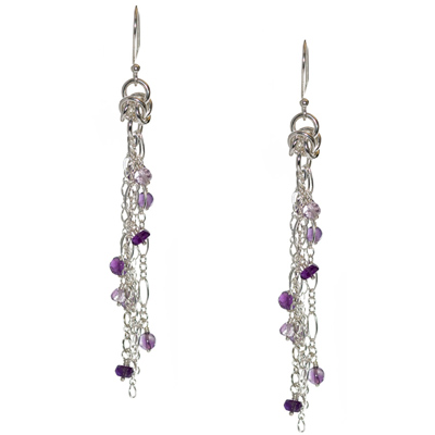 Sterling Silver Byzantine and Amethyst Earrings