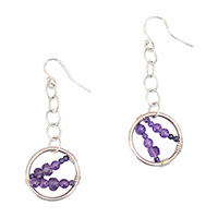 Sterling Silver Amethyst Ring Earrings