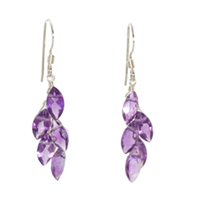 Sterling Silver  Earrings with Leaf Cut Amethyst.