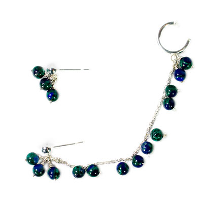 Sterling Silver Ear Cuffs - Azurite Slave Earrings :  gemstone jewelry sterling silver jewelry elena adams designs ear chain
