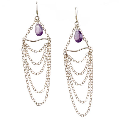 Sterling Silver Chain Drape Earrings with Amethyst
