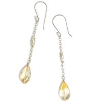 Sterling Silver Chain Drop Earrings with Citrine