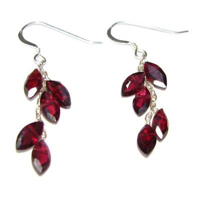 Sterling Silver Garnet Leaf Earrings