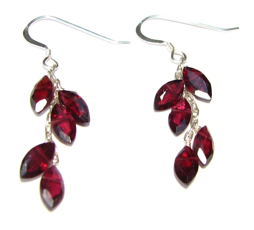 Sterling Silver Garnet Leaf Earrings Click To Enlarge