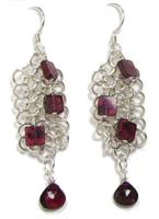Sterling Silver Chain Maille Earrings with Square Garnets