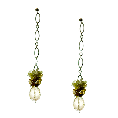 Lemon Drop Sterling Silver Earrings with Grossular Garnet and Lemon Topaz - Elena Adams Designs