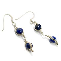 Sterling Silver Herringbone Earrings with Lapis Lazuli.