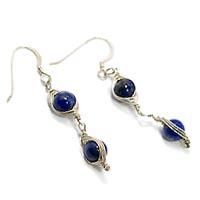 Sterling Silver Herringbone Earrings with Lapis Lazuli.