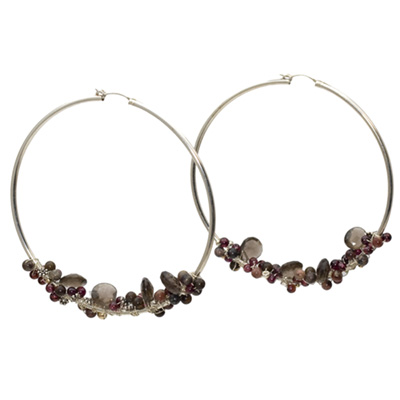 Sterling Silver and Gemstone Hoop Earrings
