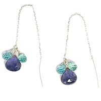 Sterling Silver Iolite and Apatite Threaders