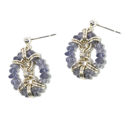 Sterling Silver Framed Iolite Earrings :  gemstone jewelry chainmail jewelry chain maille gemstone earrings