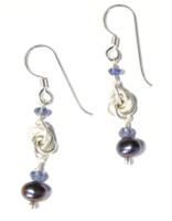 Sterling Silver Mobius Knot, Iolite and Black Pearl Earrings