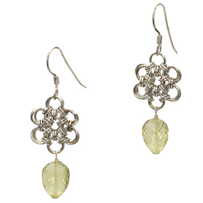 Lemon Topaz Sterling Silver Chain Maille Earrings