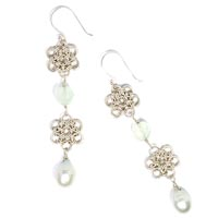 Sterling Silver Japanese Flower Earrings with Chalcedony and Freshwater Pearls