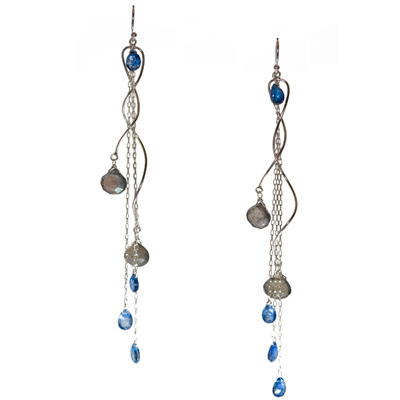 Sterling Silver, Labradorite and Kyanite Twisted Earrings