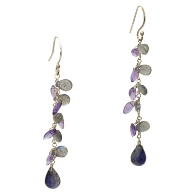 Sterling Silver Labradorite, Amethyst and Iolite Earrings