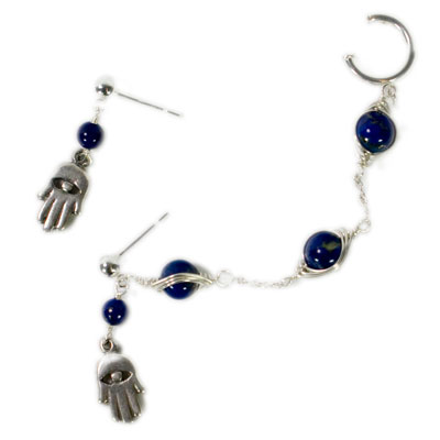 Sterling Silver Hamsa Hand and Lapis Lazuli Slave Earrings.