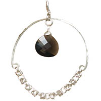 Sterling Silver Large Byzantine Hoop Earrings with Smokey Quartz