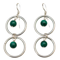 Sterling Silver Hoop Earrings with Malachite
