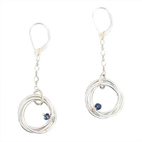 Sterling Silver Sapphire Mobius Drops
