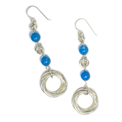 Sterling and Fine Silver Earrings with Mobius Hoops and Turquoise