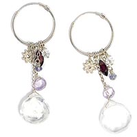 Sterling Silver Earrings with Quartz, Garnet, Iolite and Amethyst