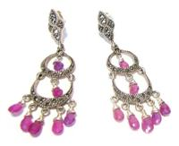 Sterling Silver Marcasite Earrings with Pink Sapphires