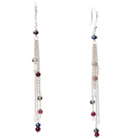 Sterling Silver Quartz, Garnet and Black Pearl Earrings