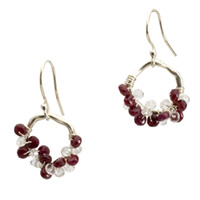 Sterling Silver Ruby and Topaz Cluster Earrings