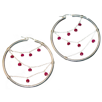 Elena Adams Designs - Sterling Silver and Ruby Hoop Earrings