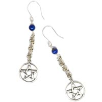 Sterling Silver Pentacle and Lapis Lazuli Chain Maille Earrings.