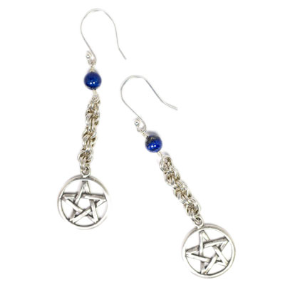 Sterling Silver Pentacle and Lapis Lazuli Chain Maille Earrings